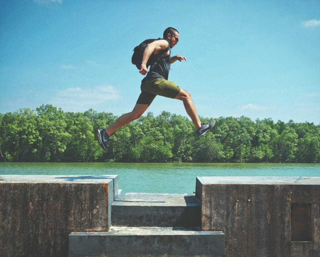 man jumping for 10000 steps a day