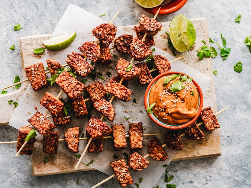 tempeh skewers are a source of vegetarian protein