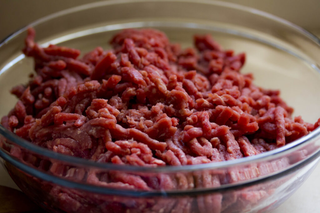 raw ground meat in a bowl